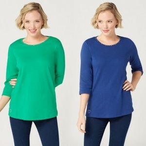 Quacker Factory Two 3/4-Sleeve Knit Tops 1X